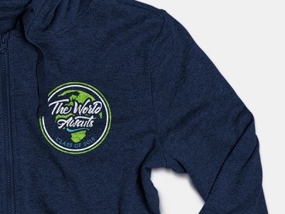 The Worlds Awaits, 2018 Class Logo globe world tshirt art apparel graphics apparel logo hoodie hoodie mockup illustration typography logo design logo brand and identity