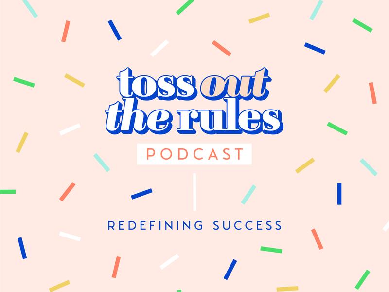 Toss Out The Rules pattern brand serif logo women empowerment entrepreneur girl boss podcast cover podcast art podcast logo podcast confetti typography logo design logo branding brand and identity