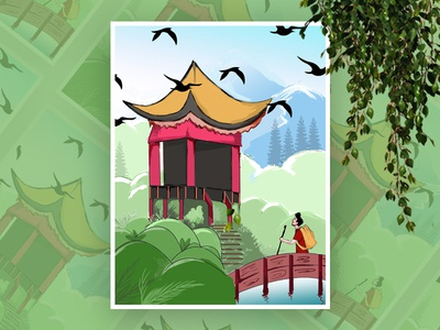 Travel Illustration design birds man trees green cart chin trip web ui illustration travel