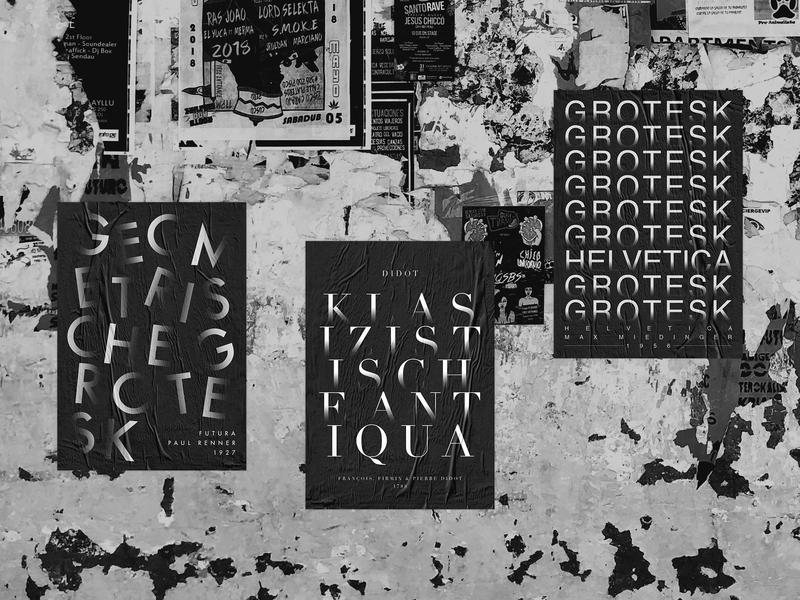 Typographic Poster Series typedesign helvetica didot futura black and white print poster mockup typography brand identity type minimal flat design branding