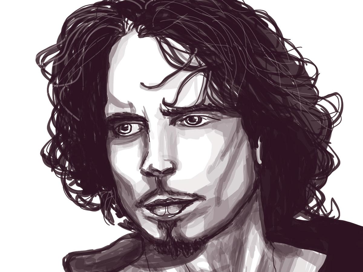 Chris Cornell wacom tablet photoshop photoshop art artist musician music grunge sketching