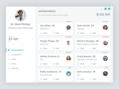 Telemedicine Doctor's Portal - Dashboard ui portal patients appointments appointment white ui telemedicine medical app white clinical clinic dashboard ui dashboard ehr clean clean ui clean design medical design medical