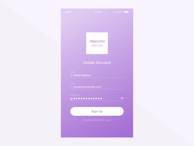 Daily UI Challenge #001 - Sign Up ui design sign up signup signin ui mobile app mobile daily ui 001 daily ui dailyui