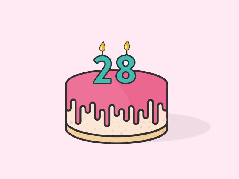Twenty Eight cake candles celebration birthday celebration birthday cake birthday twenty eight vector illustration graphic design