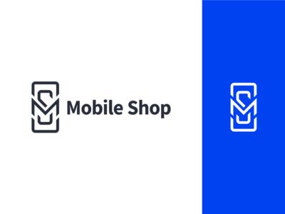 Mobile Shop Logo illustrator clean blue lettering identity mobile minimal typography ui branding vector icon design logo illustration