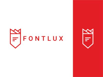 Fontlux Logo brand ux ui flat animation vector typography minimal illustrator illustration identity icon design clean branding logotype logo lux font design