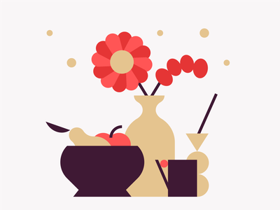Still Life🍶 cup vase simple pictogram web container flower pear apple still life geometry flat minimal icon 2d vector design graphic pattern illustration