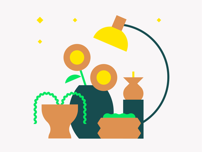 Still Life geometic yellow green clean candlelight candle vase plant flower geometry flat minimal icon 2d vector design graphic pattern character illustration