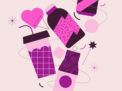 Coffee valentine violet pink purple drink bottle coffee heart clean line geometry flat minimal icon 2d vector design graphic pattern illustration