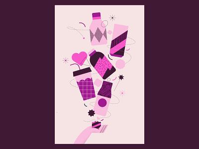 Coffee coffee water juice hand line heart bottle pink purple gift coffee geometry flat minimal woman 2d vector design graphic pattern illustration