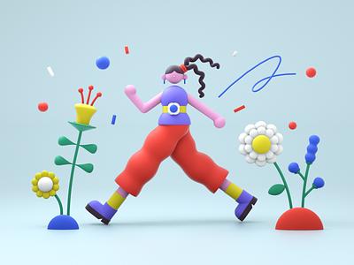 walking flower green geometry woman cinema4d c4d 3d minimal character 2d design graphic illustration