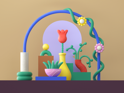 Plant composition plant flower c4d cinema4d 3d flat icon girl minimal vector 2d character design graphic pattern illustration
