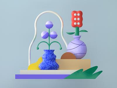 plant composition 🌸💐🌱 set web vase shape leaves flower plant c4d cinema4d composition 3d icon minimal 2d vector character design graphic pattern illustration