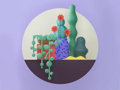 Plant composition-3 cactus red mobile c4d green flower plant cinema4d 3d web geometry flat minimal vector 2d character design graphic pattern illustration