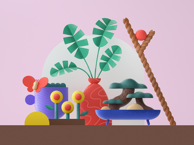 Plant composition plants rope vase butterfly plamtree trees flower c4d cinema4d 3d green geometry icon flat minimal 2d design graphic pattern illustration