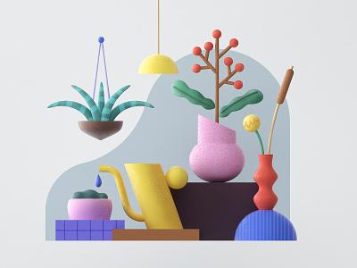 Plant composition 3d art lamp geometry shape flower vase water plant cinema4d c4d 3d flat icon minimal vector 2d design pattern graphic illustration