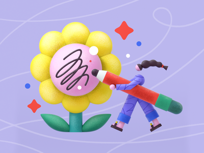 Flower board geometry web mobile pencil line cinema4d c4d flower 3d girl flat minimal vector character 2d design graphic pattern illustration
