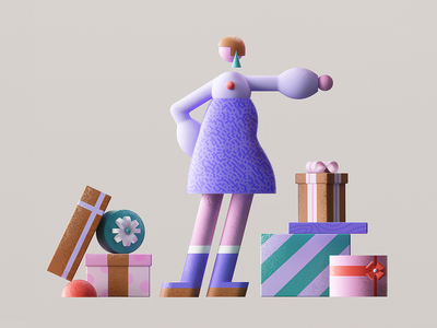 Gifts gift box cinema4d c4d 3d presnets gift woman girl flat minimal vector character 2d design graphic pattern illustration