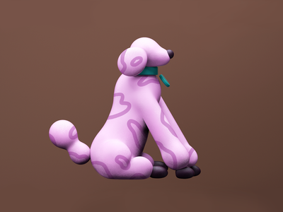 Doggy 🐶 pink cinema4d 3d c4d doggy dog illustration animal dog icon flat minimal vector character design graphic pattern illustration