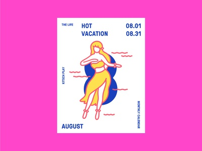 The life calendar. August. Hot vacation girl vacation hot woman hawaiian riso dance calendar august