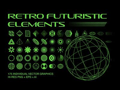 Retro Futuristic Elements graphic design modern vintage futuristic geometric vector elements vector icons 90s 80s vintage retrofuturism retro