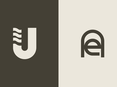 UJ and EA Monograms minimalist logo monograms