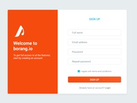 Sign Up UI for borang.io