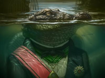 Governor Gator drawing photoshop fantasy editorial painting digital painting aligator