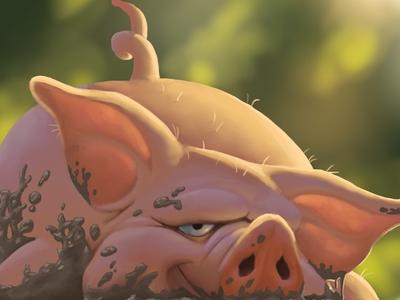 Wallowing Pig children book book illustration pro create happy illustration digital painting
