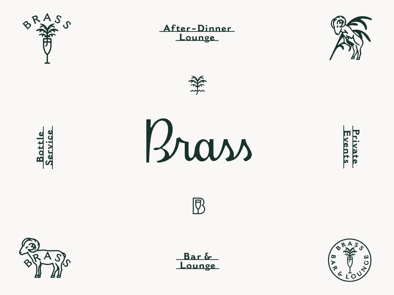 Brass Bar & Lounge prince brendan logotype script logo lettering branding design branding cocktail lounge bar brass