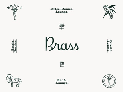 Brass Bar & Lounge prince brendan logotype script logo lettering branding design branding cocktail lounge bar brass