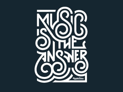 Music is the Answer music answer m s typography lettering custom brendan prince swirl
