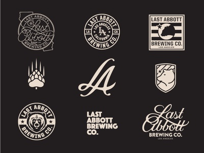 Last Abbott Brewing Co prince brendan branding beer custom typography logo brewery