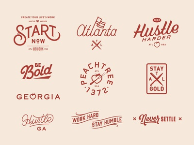 Atlanta prince brendan stamp typography type lettering badge wework atlanta