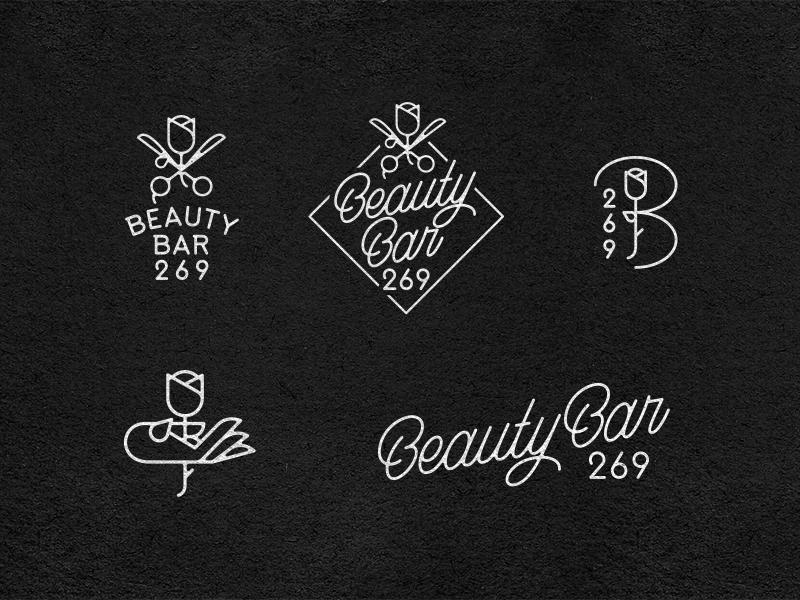 Beauty Bar 269 prince brendan typography branding logo barber flower hair women salon bar beauty