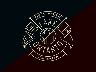 Lake Ontario rochester hamilton toronto crest logo badge new york flag usa canada ontario lake
