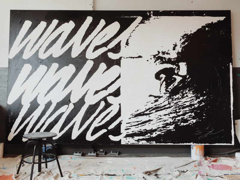 Waves Waves Waves canvas painting illustration lettering typography