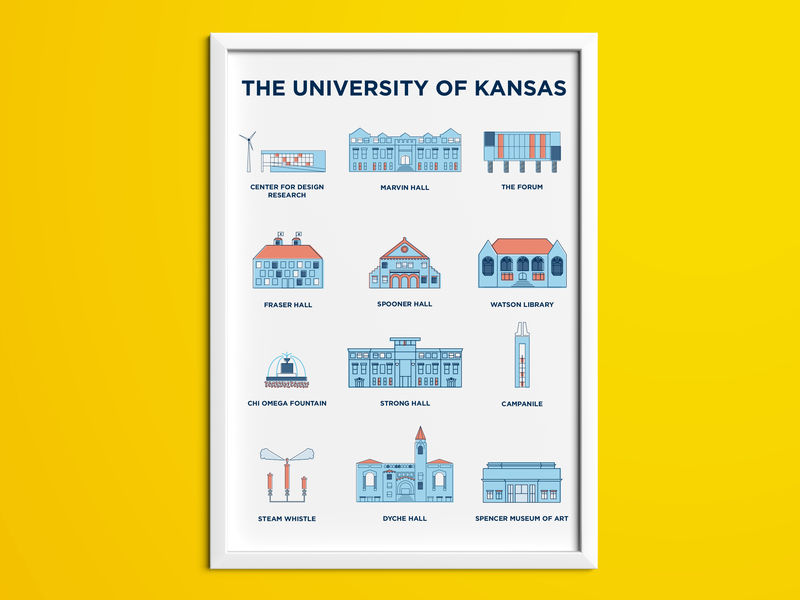 University of Kansas Poster print university yellow letterpress iconic fountain design illustrator art blue crimson ku kansas buildings illustration poster education highered