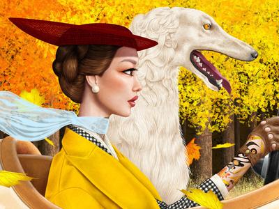 AUTUMN DRIVE WITH BORZOI tattoos driving russian wolfhound wolfhound borzoi fall autumn fashion illustration fashion illustration