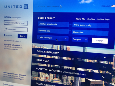 A new United united airline web website illustrator prototype form united airlines