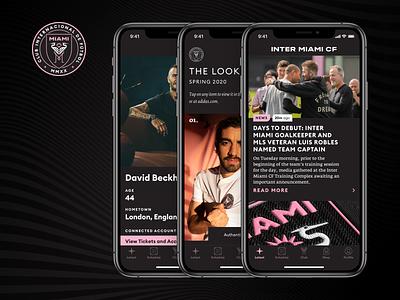 Inter Miami CF Mobile user profile sports lookbook user experience mobile mls miami inter miami football soccer ios