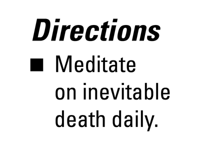 Directions directions label meditate meditation death typography univers fda