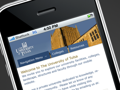 The University of Tulsa Mobile Concept 1 mobile iphone concept apple utulsa tu university of tulsa