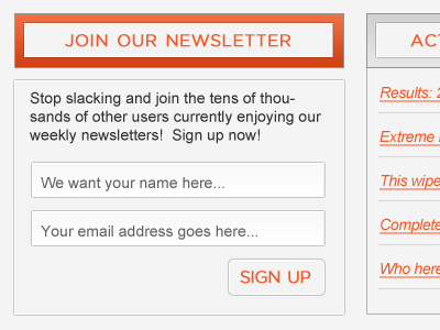 Newsletter Signup Snap newsletter subscribe shot signup feedback crique