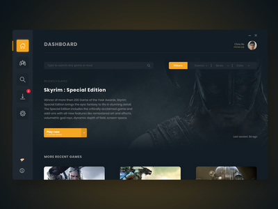 Gaming Mods App Dashboard mods dashboard uid gaming app interface ui design gaming