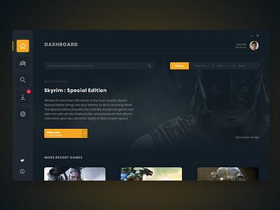 Gaming Mods App Dashboard mods dashboard uid gaming app interface ui design gaming