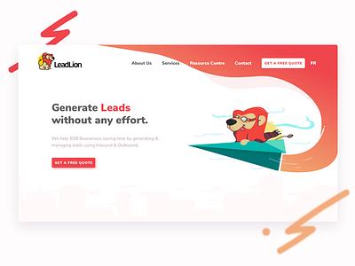 LeadLion Agency website illustration ui illustration agency website website design ui illustration elementor front-end development