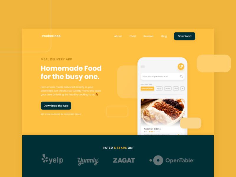 Cookerinoo - Landing Page app website landingpage shapes phone mockup yellow ui food app food delivery meal