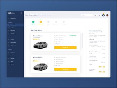 HQ Rental Software App car rent list view listing ui lists billing checkout list rental process car rental