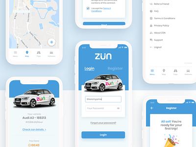 ZÜN Car Sharing App app case study maps location screens vehicle rental car rental startup car sharing app car rental app uxdesign uxui app design
